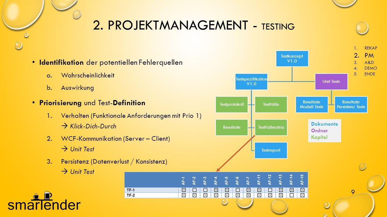 2. PROJEKTMANAGEMENT - TESTING 9 Identifikation der potentiellen Fehlerquellen a.Wahrscheinlichkeit b.Auswirkung Priorisierung und Test-Definition 1.V