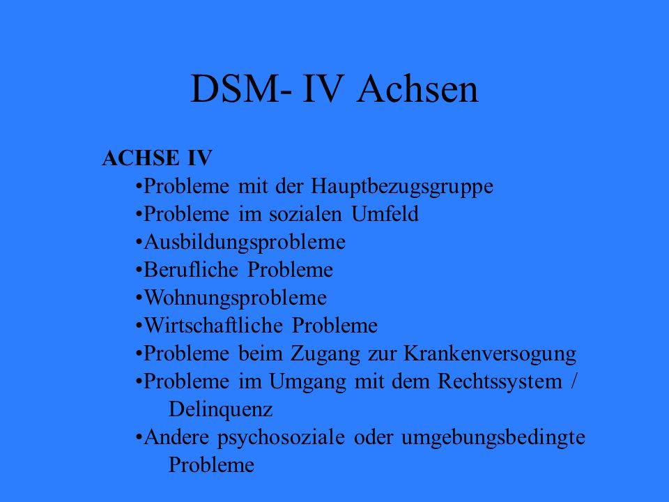 ACHSE IV Probleme mit der Hauptbezugsgruppe Probleme im sozialen Umfeld Ausbildungsprobleme Berufliche Probleme Wohnungsprobleme Wirtschaftliche Probl