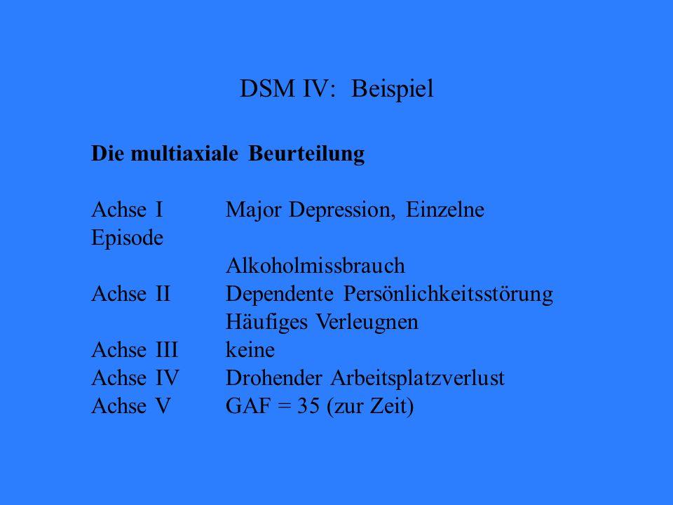 Die multiaxiale Beurteilung Achse IMajor Depression, Einzelne Episode Alkoholmissbrauch Achse IIDependente Persönlichkeitsstörung Häufiges Verleugnen Achse IIIkeine Achse IVDrohender Arbeitsplatzverlust Achse VGAF = 35 (zur Zeit) DSM IV: Beispiel