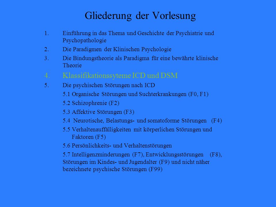 Klinische Psychologie 4. Klassifikationssyteme