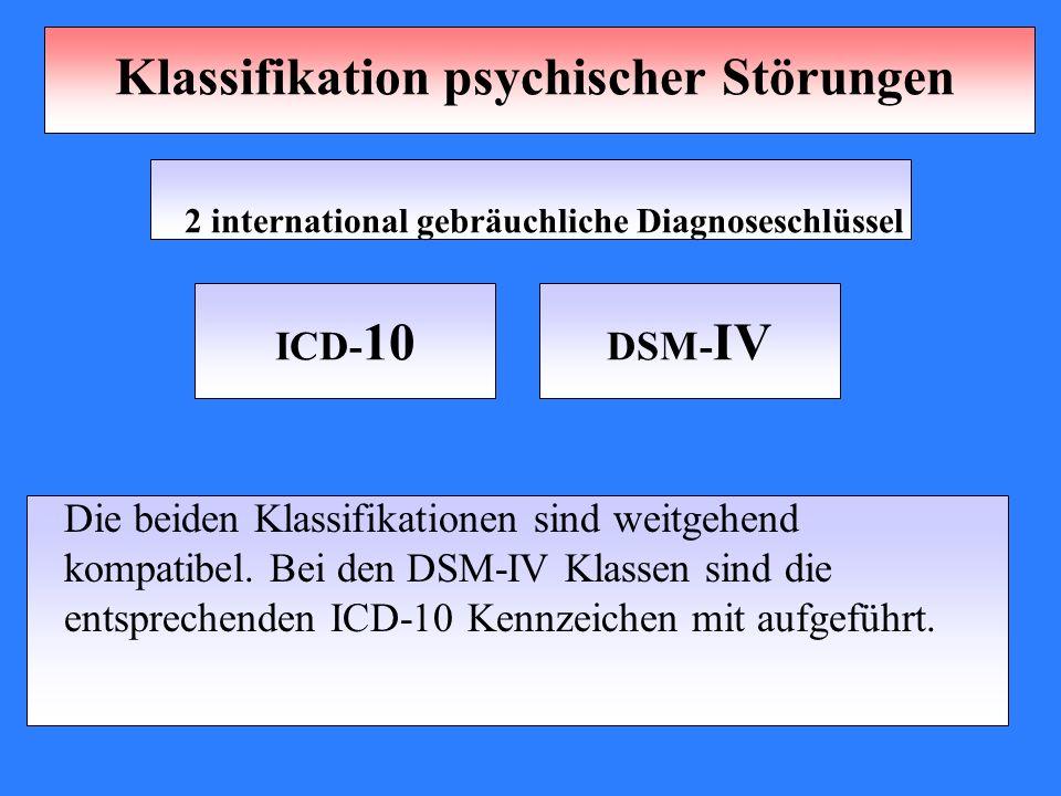 Klassifikation psychischer Störungen 2 international gebräuchliche Diagnoseschlüssel Die beiden Klassifikationen sind weitgehend kompatibel. Bei den D