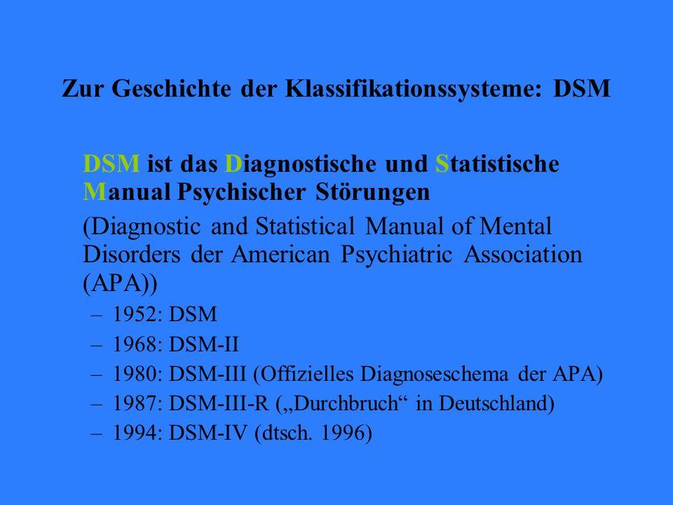 Zur Geschichte der Klassifikationssysteme: DSM DSM ist das Diagnostische und Statistische Manual Psychischer Störungen (Diagnostic and Statistical Man