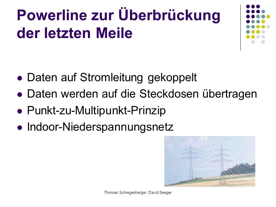 Thomas Schregenberger, David Seeger Powerline zur Überbrückung der letzten Meile Daten auf Stromleitung gekoppelt Daten werden auf die Steckdosen über