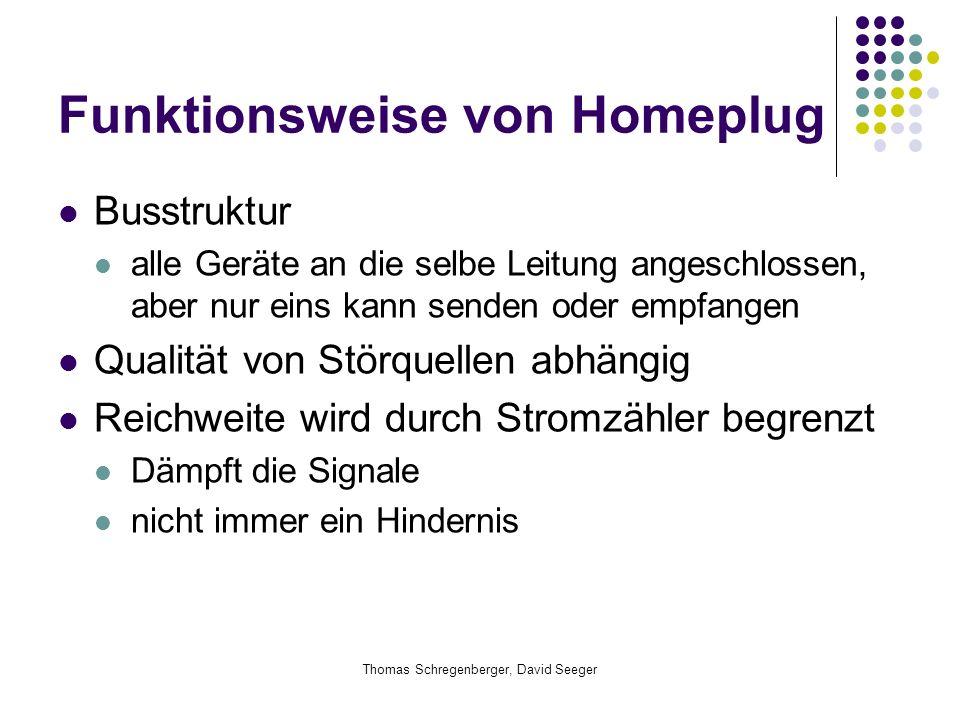 Thomas Schregenberger, David Seeger Funktionsweise von Homeplug Busstruktur alle Geräte an die selbe Leitung angeschlossen, aber nur eins kann senden