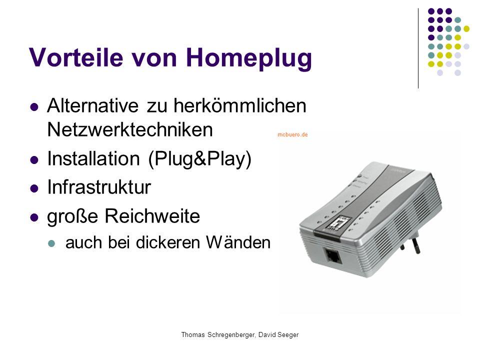Thomas Schregenberger, David Seeger Vorteile von Homeplug Alternative zu herkömmlichen Netzwerktechniken Installation (Plug&Play) Infrastruktur große