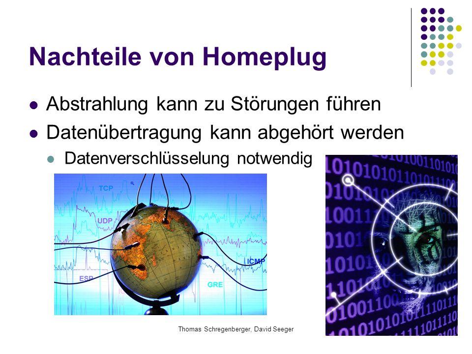 Thomas Schregenberger, David Seeger Nachteile von Homeplug Abstrahlung kann zu Störungen führen Datenübertragung kann abgehört werden Datenverschlüsse