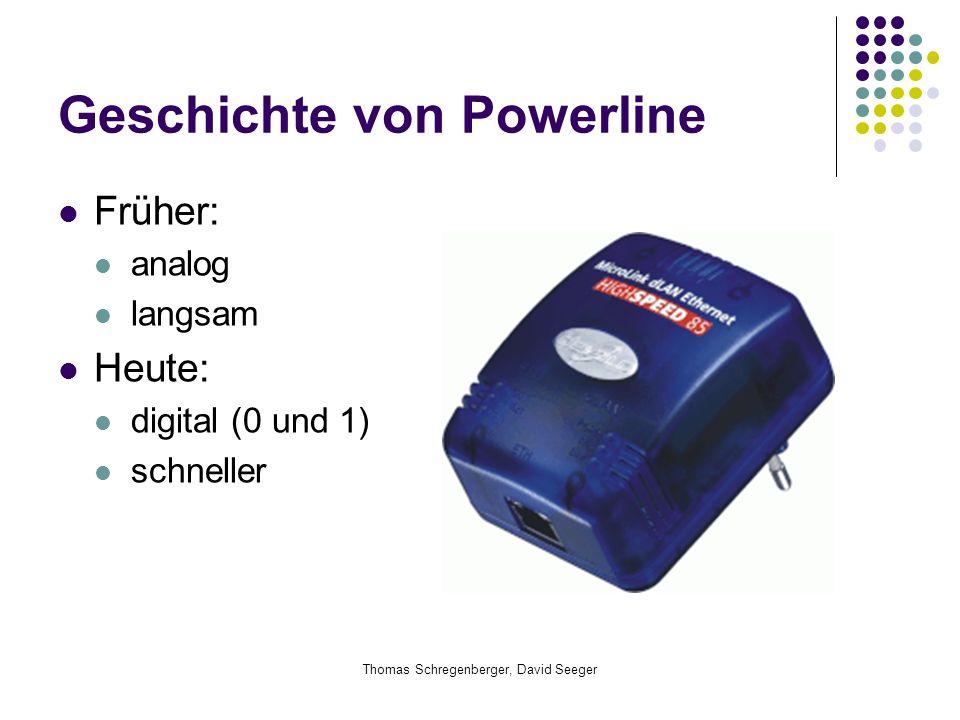 Thomas Schregenberger, David Seeger Geschichte von Powerline Früher: analog langsam Heute: digital (0 und 1) schneller
