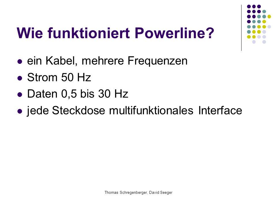 Thomas Schregenberger, David Seeger Wie funktioniert Powerline? ein Kabel, mehrere Frequenzen Strom 50 Hz Daten 0,5 bis 30 Hz jede Steckdose multifunk