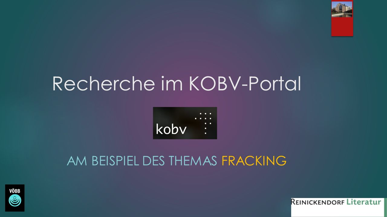 Recherche im KOBV-Portal Das KOBV-Portal ist das regionale Rechercheportal der öffentlichen und wissenschaftlichen Bibliotheken in Berlin und Brandenburg.