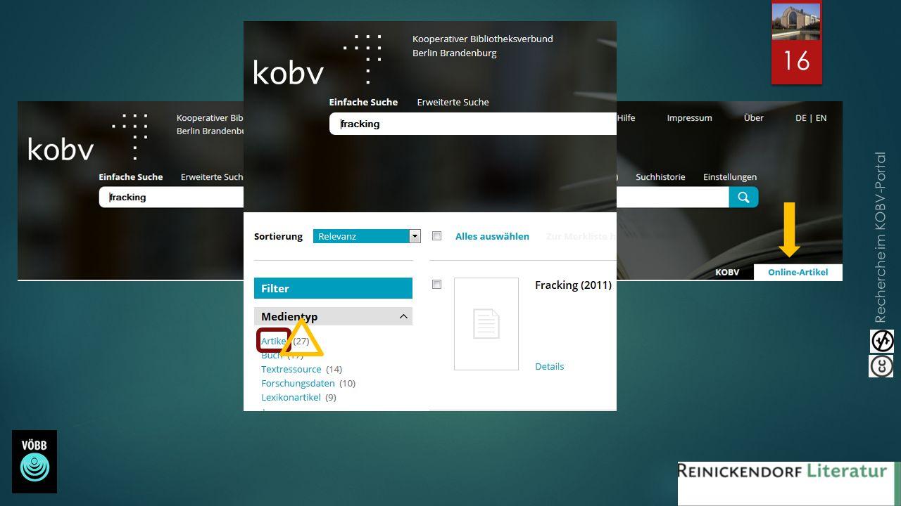 Recherche im KOBV-Portal 16