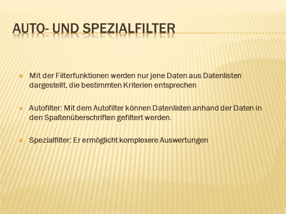  Mit der Filterfunktionen werden nur jene Daten aus Datenlisten dargestellt, die bestimmten Kriterien entsprechen  Autofilter: Mit dem Autofilter können Datenlisten anhand der Daten in den Spaltenüberschriften gefiltert werden.