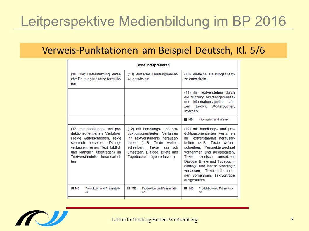 Lehrerfortbildung Baden-Württemberg5 Leitperspektive Medienbildung im BP 2016 Verweis-Punktationen am Beispiel Deutsch, Kl.