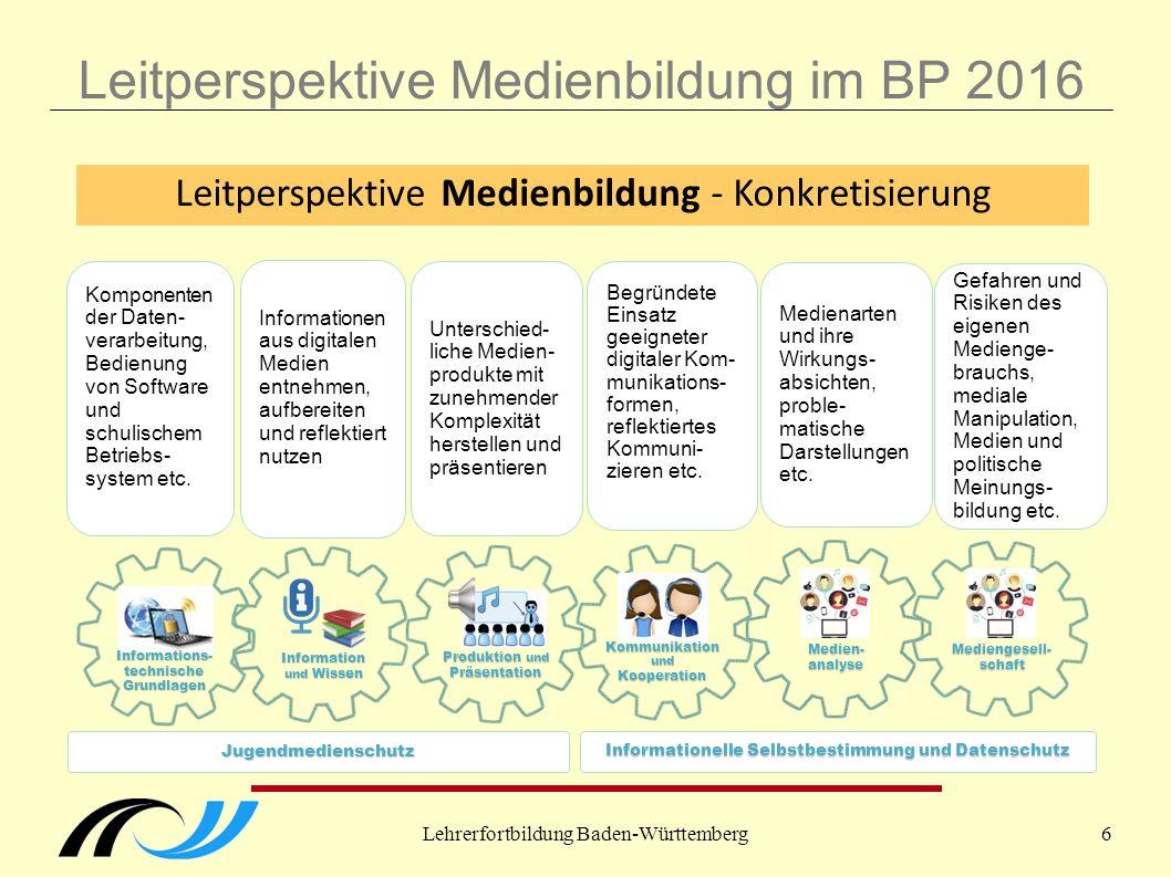 Lehrerfortbildung Baden-Württemberg6 Leitperspektive Medienbildung im BP 2016 Informationen aus digitalen Medien entnehmen, aufbereiten und reflektiert nutzen Unterschied- liche Medien- produkte mit zunehmender Komplexität herstellen und präsentieren Begründete Einsatz geeigneter digitaler Kom- munikations- formen, reflektiertes Kommuni- zieren etc.