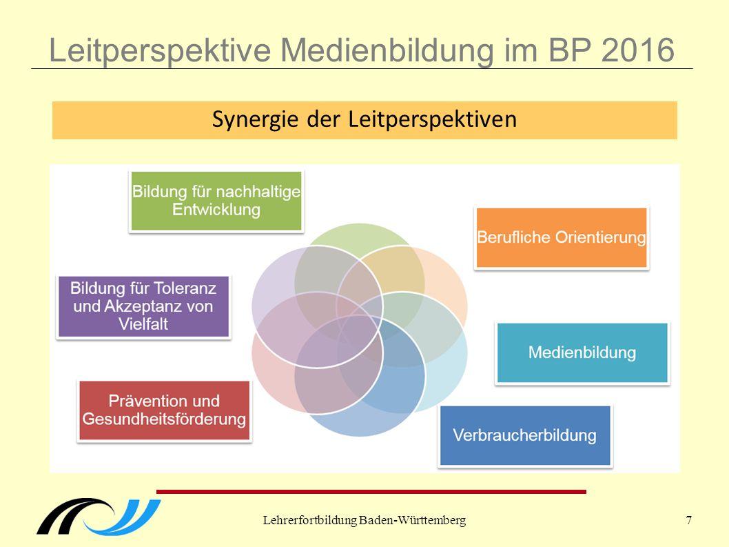 Lehrerfortbildung Baden-Württemberg7 Leitperspektive Medienbildung im BP 2016 Synergie der Leitperspektiven