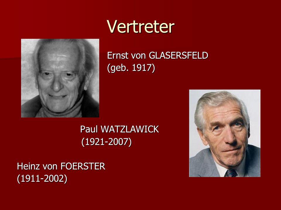 Vertreter Ernst von GLASERSFELD Ernst von GLASERSFELD (geb. 1917) (geb. 1917) Paul WATZLAWICK Paul WATZLAWICK (1921-2007) (1921-2007) Heinz von FOERST
