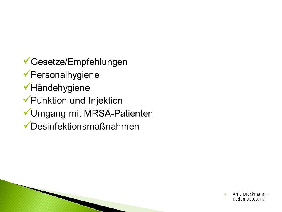 Gesetze/Empfehlungen Personalhygiene Händehygiene Punktion und Injektion Umgang mit MRSA-Patienten Desinfektionsmaßnahmen  Anja Dieckmann – Keden 05.