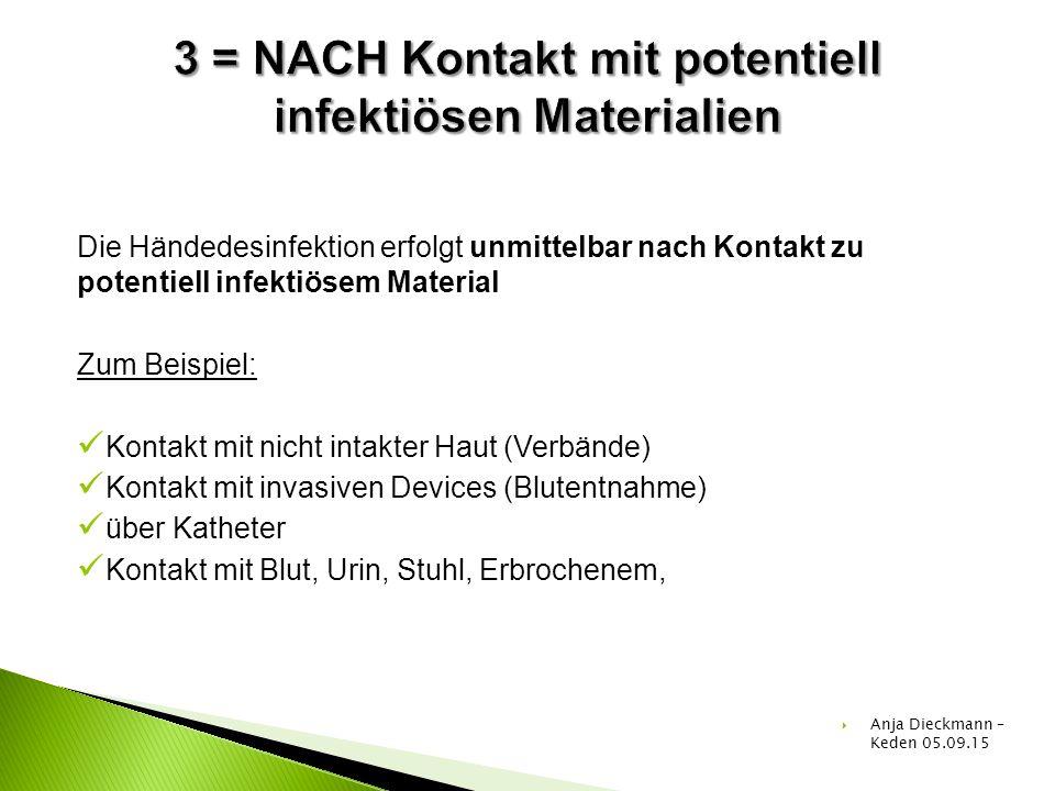 Die Händedesinfektion erfolgt unmittelbar nach Kontakt zu potentiell infektiösem Material Zum Beispiel: Kontakt mit nicht intakter Haut (Verbände) Kon