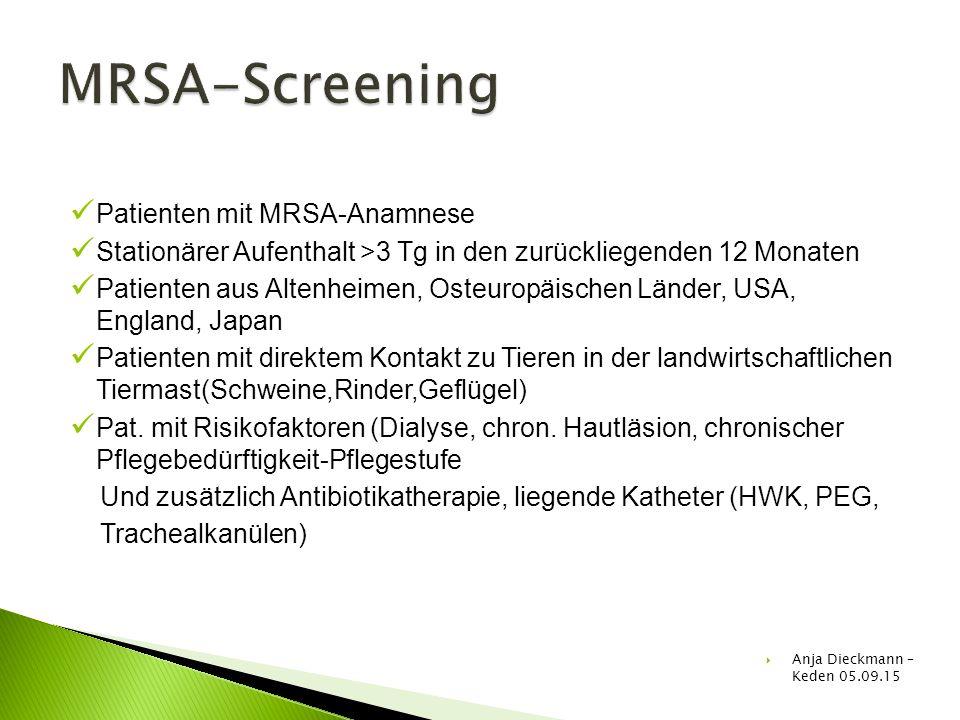Patienten mit MRSA-Anamnese Stationärer Aufenthalt >3 Tg in den zurückliegenden 12 Monaten Patienten aus Altenheimen, Osteuropäischen Länder, USA, Eng