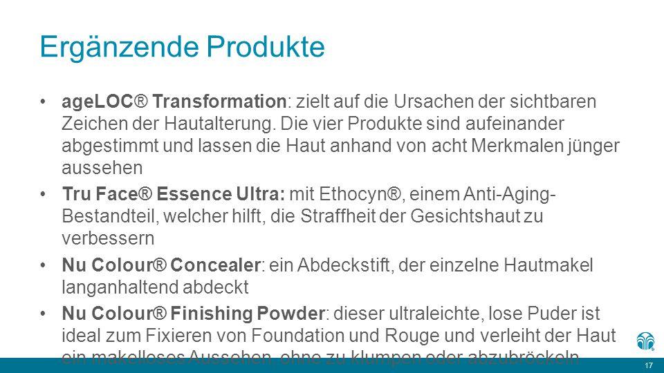 17 Ergänzende Produkte ageLOC® Transformation: zielt auf die Ursachen der sichtbaren Zeichen der Hautalterung.