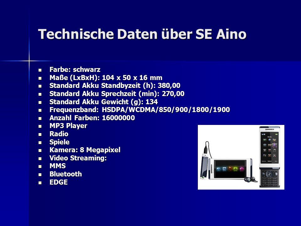 Technische Daten über SE Aino Farbe: schwarz Farbe: schwarz Maße (LxBxH): 104 x 50 x 16 mm Maße (LxBxH): 104 x 50 x 16 mm Standard Akku Standbyzeit (h): 380,00 Standard Akku Standbyzeit (h): 380,00 Standard Akku Sprechzeit (min): 270,00 Standard Akku Sprechzeit (min): 270,00 Standard Akku Gewicht (g): 134 Standard Akku Gewicht (g): 134 Frequenzband: HSDPA/WCDMA/850/900/1800/1900 Frequenzband: HSDPA/WCDMA/850/900/1800/1900 Anzahl Farben: 16000000 Anzahl Farben: 16000000 MP3 Player MP3 Player Radio Radio Spiele Spiele Kamera: 8 Megapixel Kamera: 8 Megapixel Video Streaming: Video Streaming: MMS MMS Bluetooth Bluetooth EDGE EDGE