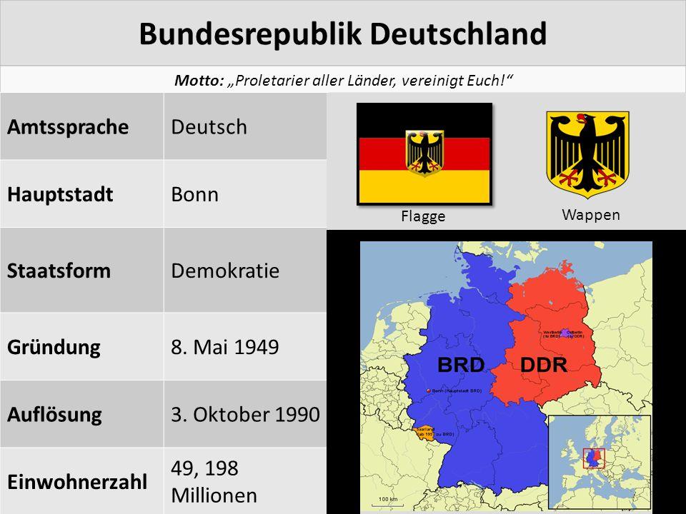 """Bundesrepublik Deutschland Motto: """"Proletarier aller Länder, vereinigt Euch!"""" AmtsspracheDeutsch HauptstadtBonn StaatsformDemokratie Gründung8. Mai 19"""