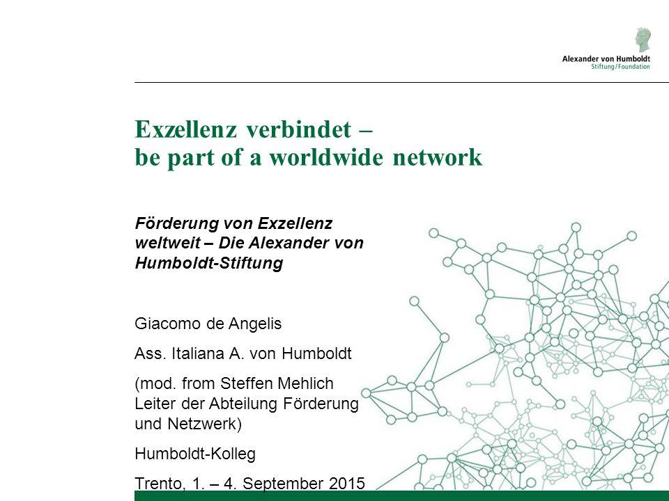 Exzellenz verbindet – be part of a worldwide network Förderung von Exzellenz weltweit – Die Alexander von Humboldt-Stiftung Giacomo de Angelis Ass.