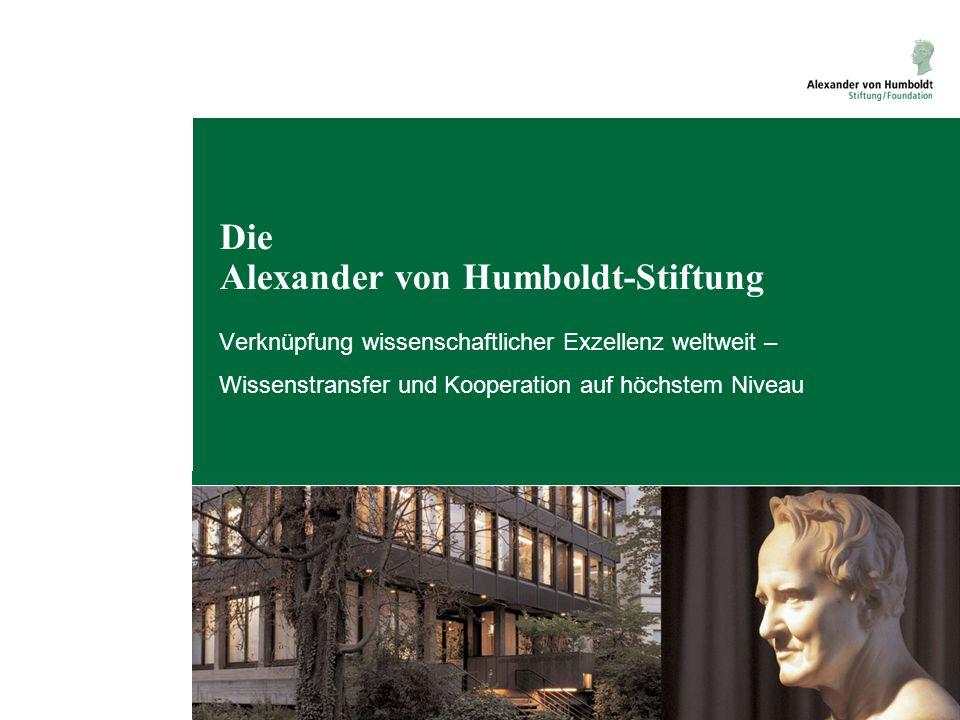 Kontakt Für Fragen steht die Alexander von Humboldt-Stiftung jederzeit zur Verfügung: info@avh.de www.humboldt-foundation.de Jean-Paul-Straße 12 53173 Bonn Tel: +49 228 833-0 Fax: +49 228 833-199