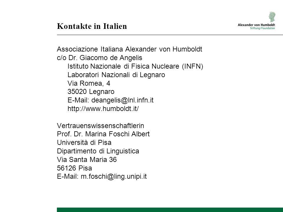 Kontakte in Italien Associazione Italiana Alexander von Humboldt c/o Dr.