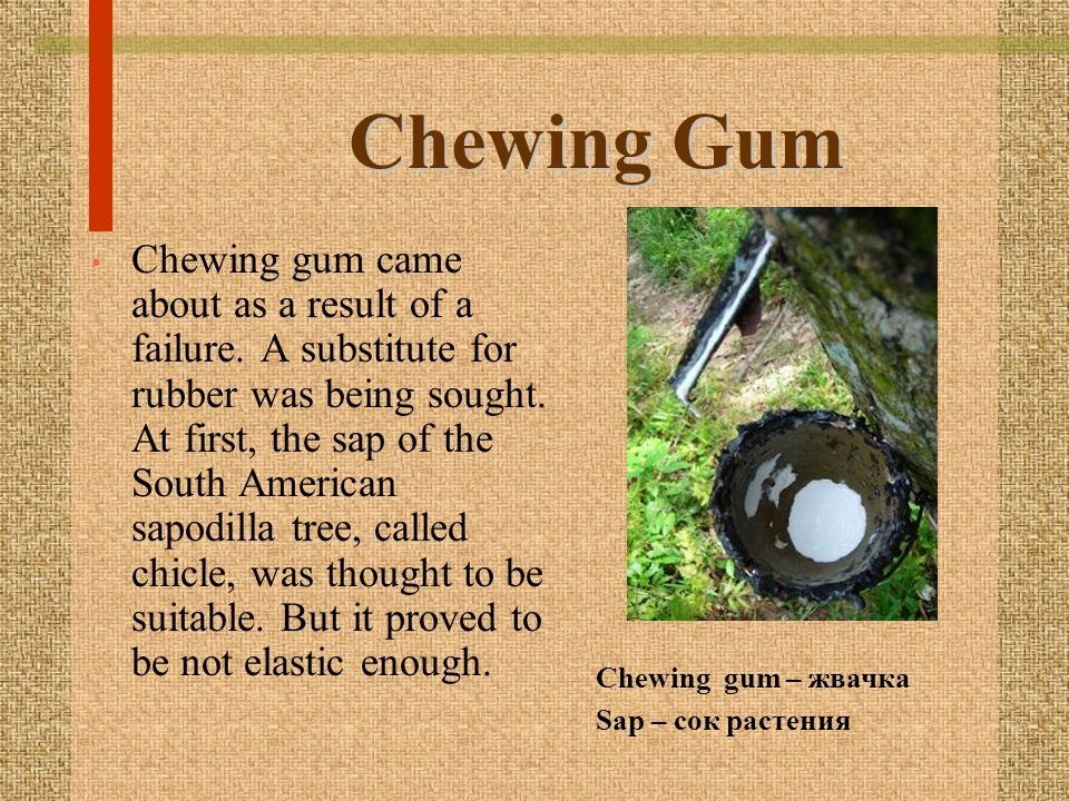 Chewing Gum Chewing gum came about as a result of a failure. A substitute for rubber was being sought. At first, the sap of the South American sapodil