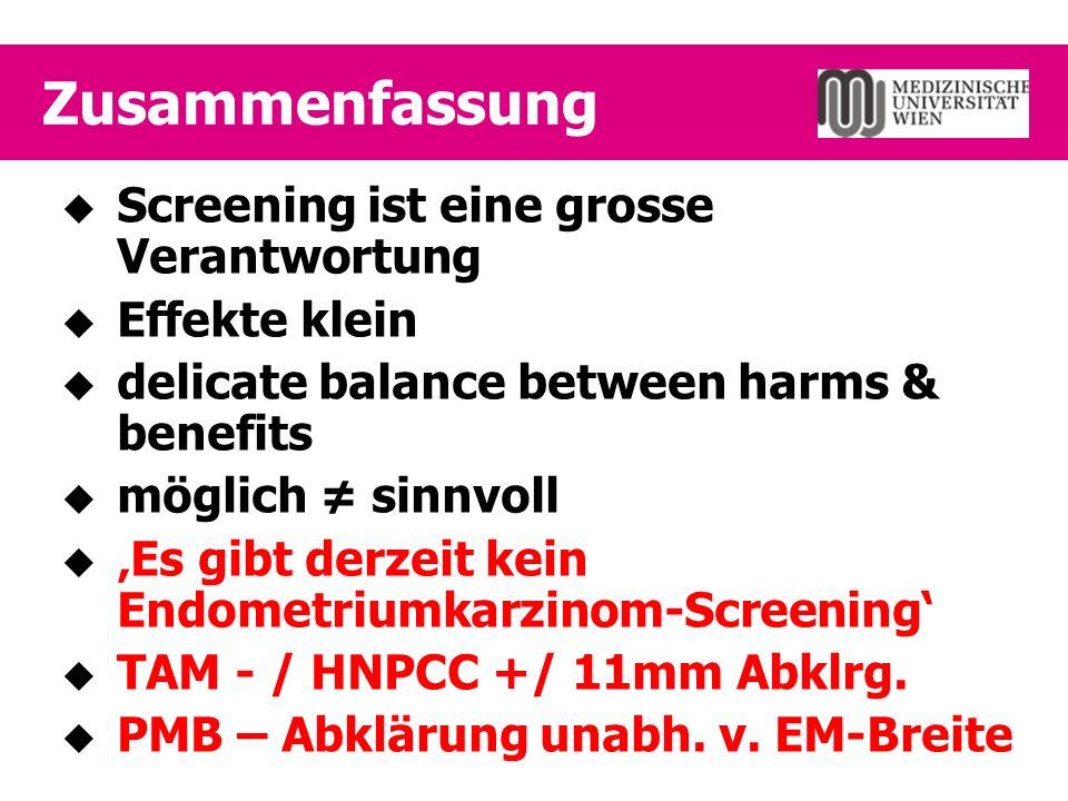 Zusammenfassung  Screening ist eine grosse Verantwortung  Effekte klein  delicate balance between harms & benefits  möglich ≠ sinnvoll  'Es gibt derzeit kein Endometriumkarzinom-Screening'  TAM - / HNPCC +/ 11mm Abklrg.