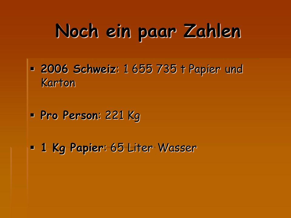 Noch ein paar Zahlen  2006 Schweiz: 1 655 735 t Papier und Karton  Pro Person: 221 Kg  1 Kg Papier: 65 Liter Wasser