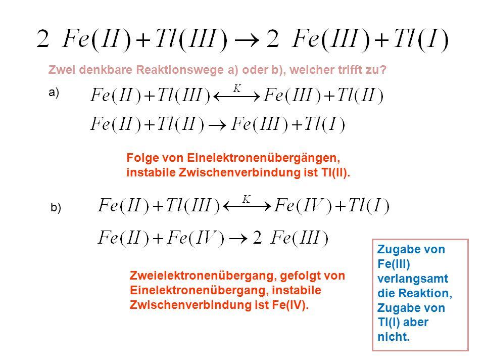 Zwei denkbare Reaktionswege a) oder b), welcher trifft zu.