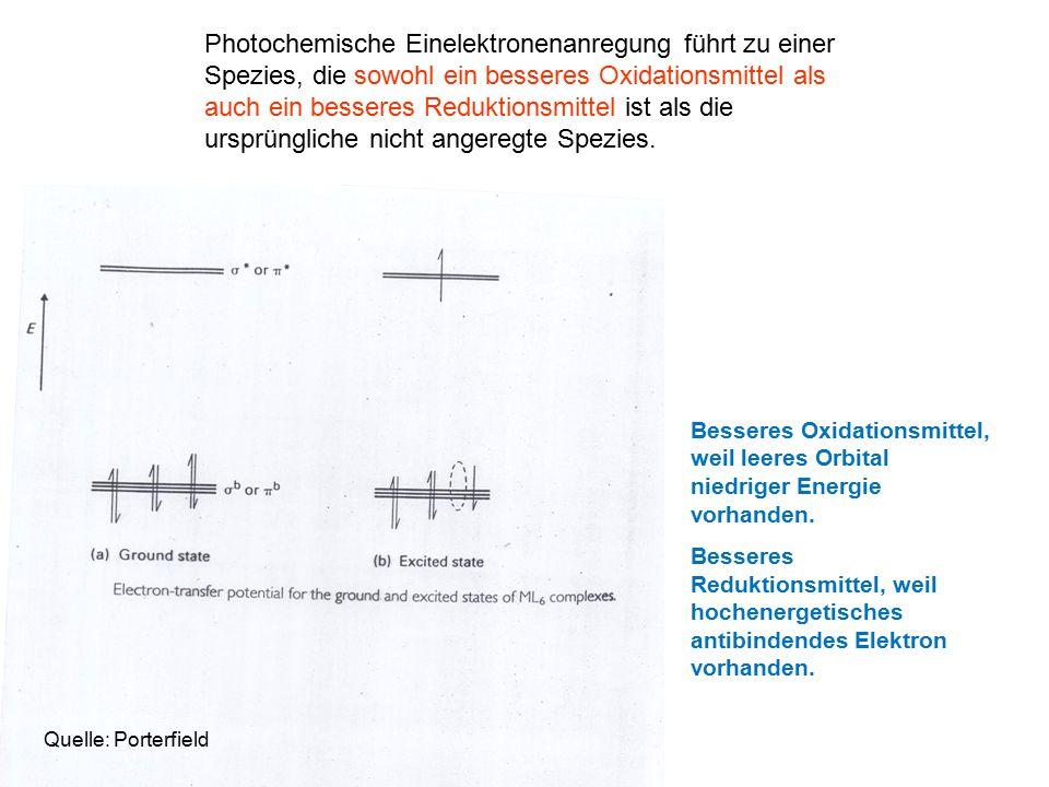 Photochemische Einelektronenanregung führt zu einer Spezies, die sowohl ein besseres Oxidationsmittel als auch ein besseres Reduktionsmittel ist als die ursprüngliche nicht angeregte Spezies.