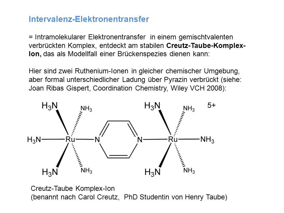 Intervalenz-Elektronentransfer = Intramolekularer Elektronentransfer in einem gemischtvalenten verbrückten Komplex, entdeckt am stabilen Creutz-Taube-Komplex- Ion, das als Modellfall einer Brückenspezies dienen kann: Hier sind zwei Ruthenium-Ionen in gleicher chemischer Umgebung, aber formal unterschiedlicher Ladung über Pyrazin verbrückt (siehe: Joan Ribas Gispert, Coordination Chemistry, Wiley VCH 2008): Creutz-Taube Komplex-Ion (benannt nach Carol Creutz, PhD Studentin von Henry Taube)