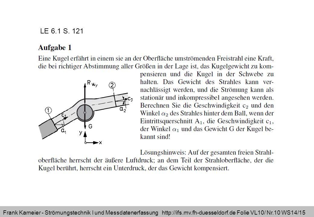 Frank Kameier - Strömungstechnik I und Messdatenerfassung http://ifs.mv.fh-duesseldorf.de Folie VL10/ Nr.10 WS14/15 LE 6.1 S. 121