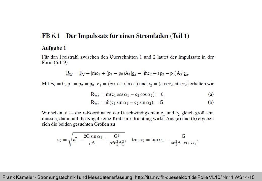 Frank Kameier - Strömungstechnik I und Messdatenerfassung http://ifs.mv.fh-duesseldorf.de Folie VL10/ Nr.11 WS14/15