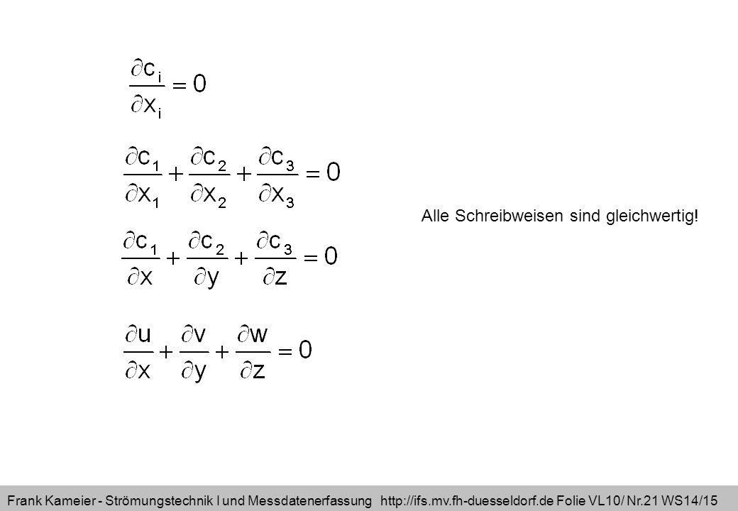 Frank Kameier - Strömungstechnik I und Messdatenerfassung http://ifs.mv.fh-duesseldorf.de Folie VL10/ Nr.21 WS14/15 Alle Schreibweisen sind gleichwertig!