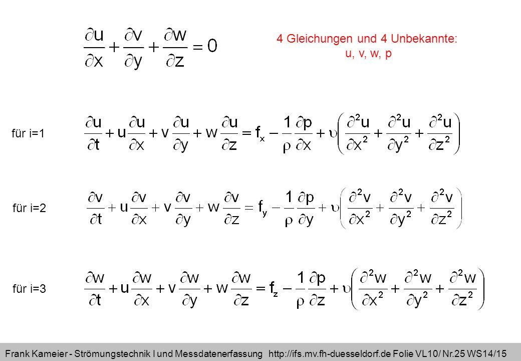 Frank Kameier - Strömungstechnik I und Messdatenerfassung http://ifs.mv.fh-duesseldorf.de Folie VL10/ Nr.25 WS14/15 für i=1 für i=2 für i=3 4 Gleichungen und 4 Unbekannte: u, v, w, p