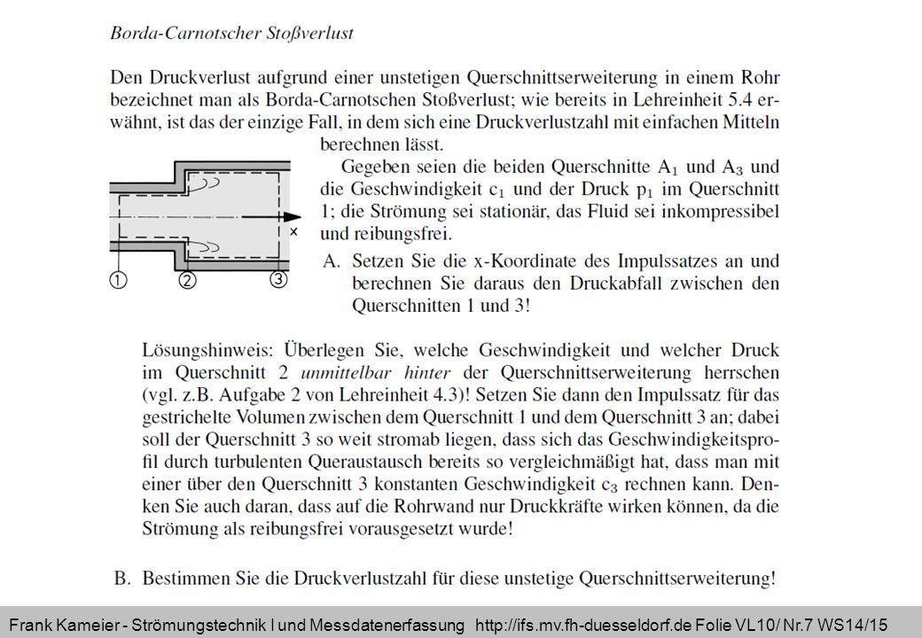 Frank Kameier - Strömungstechnik I und Messdatenerfassung http://ifs.mv.fh-duesseldorf.de Folie VL10/ Nr.8 WS14/15