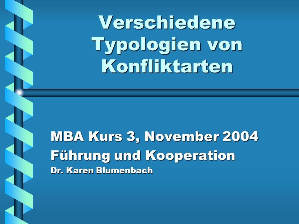 Verschiedene Typologien von Konfliktarten MBA Kurs 3, November 2004 Führung und Kooperation Dr. Karen Blumenbach