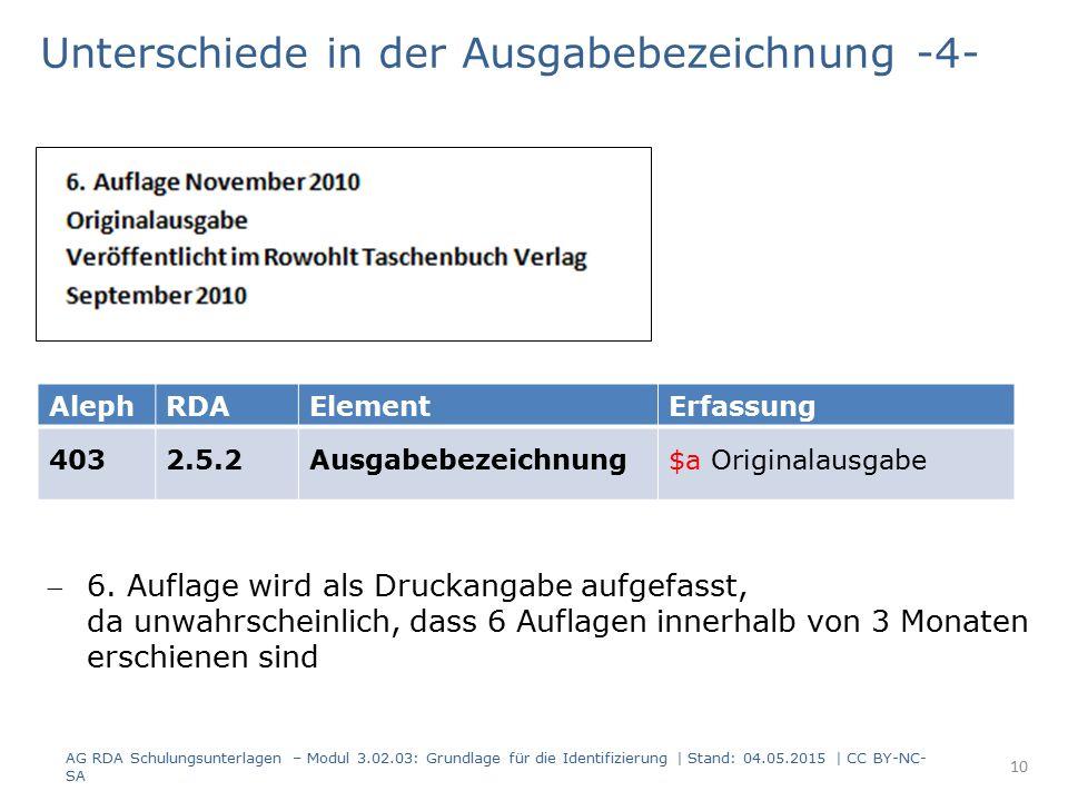 Unterschiede in der Ausgabebezeichnung -4- AG RDA Schulungsunterlagen – Modul 3.02.03: Grundlage für die Identifizierung | Stand: 04.05.2015 | CC BY-NC- SA AlephRDAElementErfassung 4032.5.2Ausgabebezeichnung$a Originalausgabe 6.