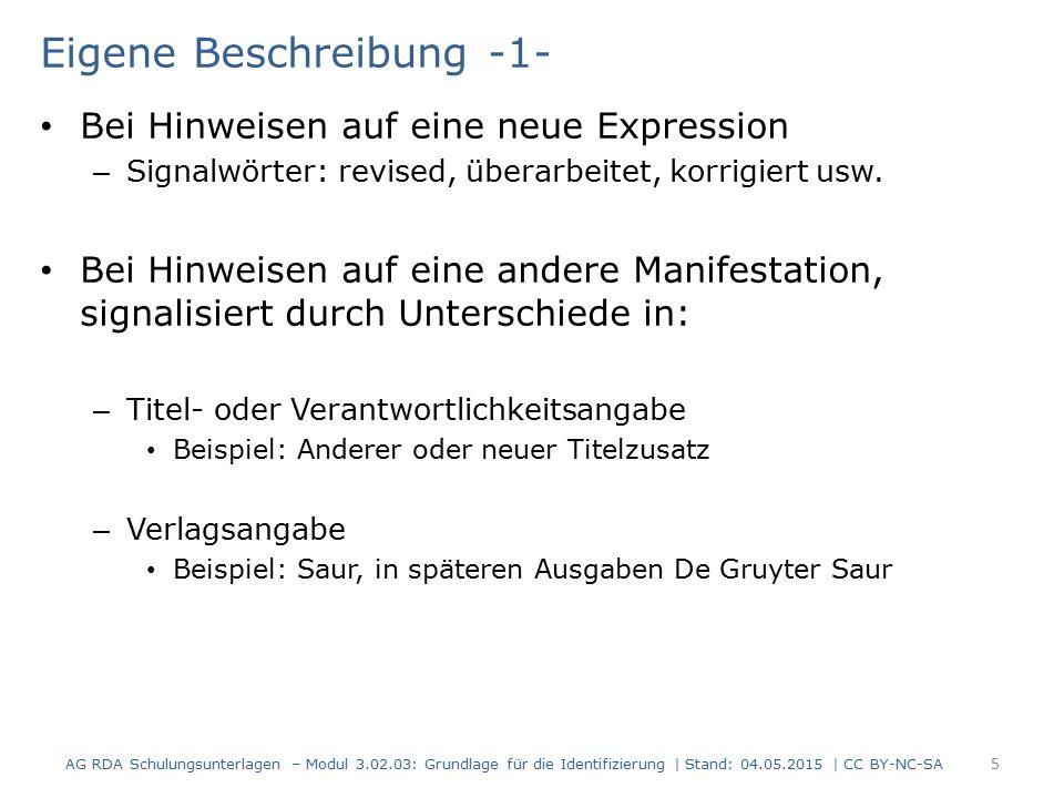 Eigene Beschreibung -1- Bei Hinweisen auf eine neue Expression – Signalwörter: revised, überarbeitet, korrigiert usw.