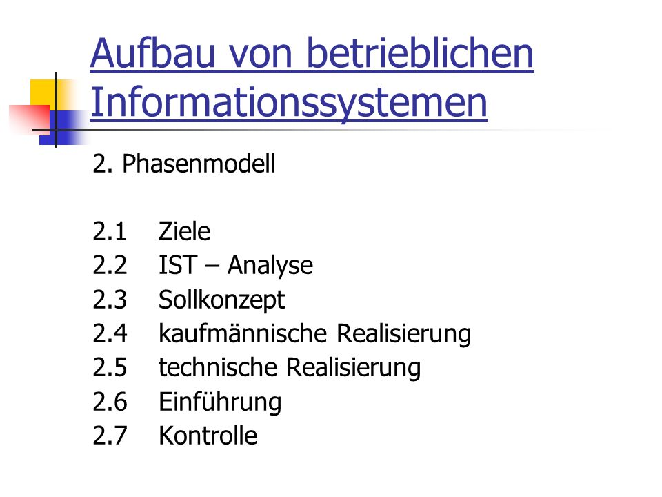 Aufbau von betrieblichen Informationssystemen 2.