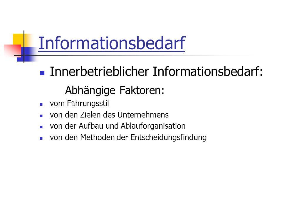 Informationsbedarf Innerbetrieblicher Informationsbedarf: Abhängige Faktoren: vom F ü hrungsstil von den Zielen des Unternehmens von der Aufbau und Ablauforganisation von den Methoden der Entscheidungsfindung