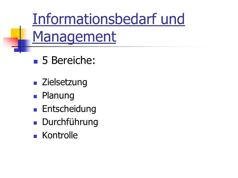 Informationsbedarf und Management 5 Bereiche: Zielsetzung Planung Entscheidung Durchführung Kontrolle