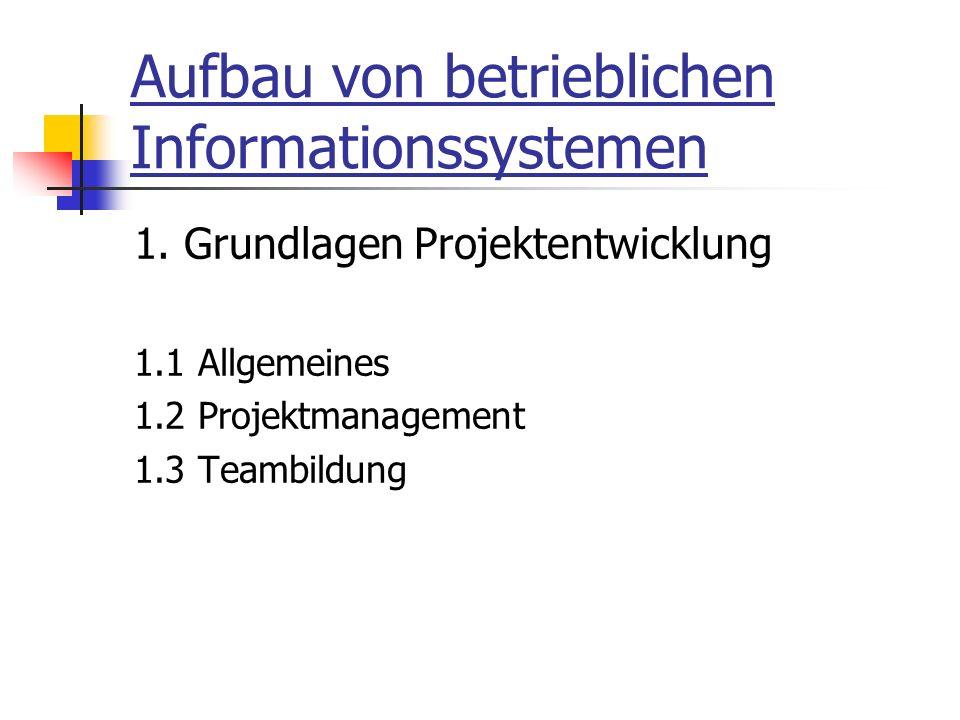 Aufbau von betrieblichen Informationssystemen 1.