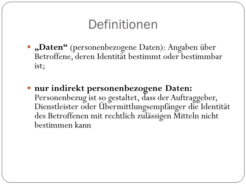 """Definitionen  """"Daten"""" (personenbezogene Daten): Angaben über Betroffene, deren Identität bestimmt oder bestimmbar ist;  nur indirekt personenbezogen"""