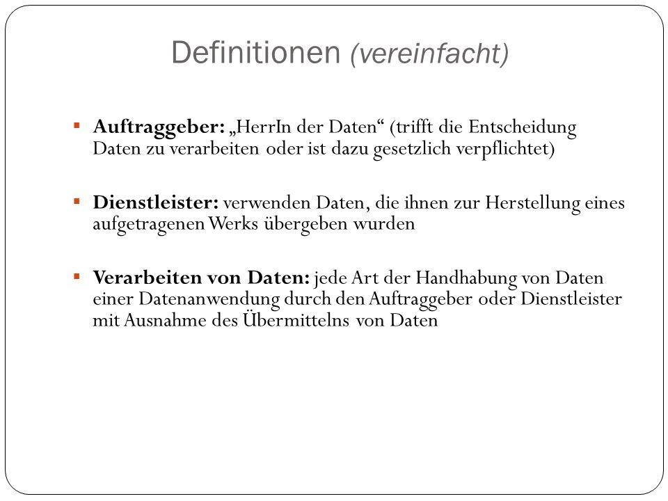 """Definitionen (vereinfacht)  Auftraggeber: """"HerrIn der Daten"""" (trifft die Entscheidung Daten zu verarbeiten oder ist dazu gesetzlich verpflichtet)  D"""
