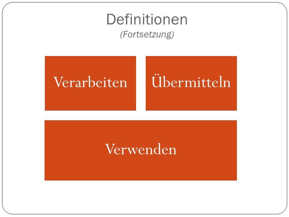 Definitionen (Fortsetzung) VerarbeitenÜbermitteln Verwenden