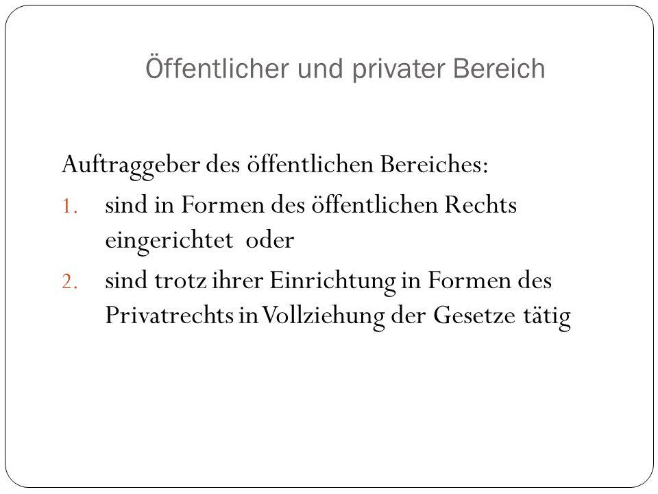 Öffentlicher und privater Bereich Auftraggeber des öffentlichen Bereiches: 1. sind in Formen des öffentlichen Rechts eingerichtet oder 2. sind trotz i